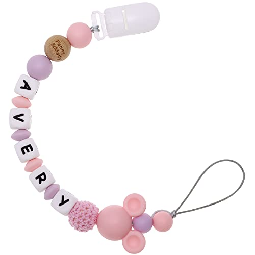 Personalized Pacifier Clip with Name, Customizable Pacifier Holder with Cute Silicone Mouse Head Pacifier Leashes with Teething Beads for Boy Girl Baby Shower Registry - Fits All Pacifier Styles(Pink)