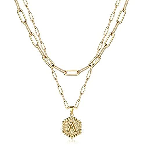 Colgante, Colgante de Letra Hexagonal Collar Exquisito y Duradero Clip de Papel Chapado en Oro de 14K Collar de Cadena de múltiples Capas - Oro 45.72Cm + 5.08Cm, 35.56Cm +