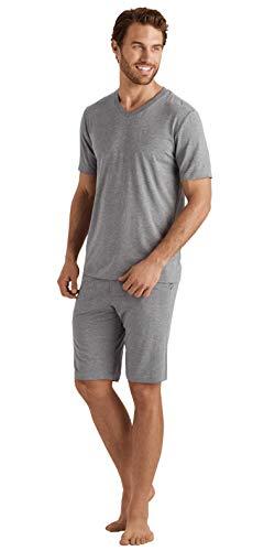 Hanro Herren Casuals Short Sleeve V-Neck Shirt Pyjama-Oberteil (Top), Steinmelange, Groß