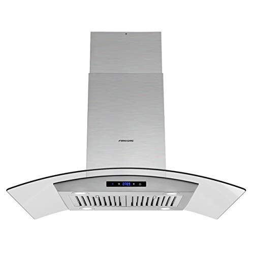 FIREGAS Island Range Hood 36 inch 450 CFM with Chimney,Tempered Glass,4 LED Lights,3 Speed Fan,Touch Control,Permanent Filter,Charcoal Filter,Stainless Steel,Island Mount,Ceiling Mount
