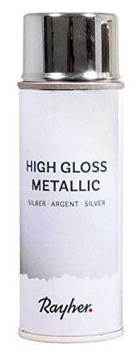 Rayher 34424606 High gloss Metallic Spray, silber, Dose 200 ml, hochglänzender Metallic-Effektspray, Acrylspray für Metalleffekte, für den Innenbereich
