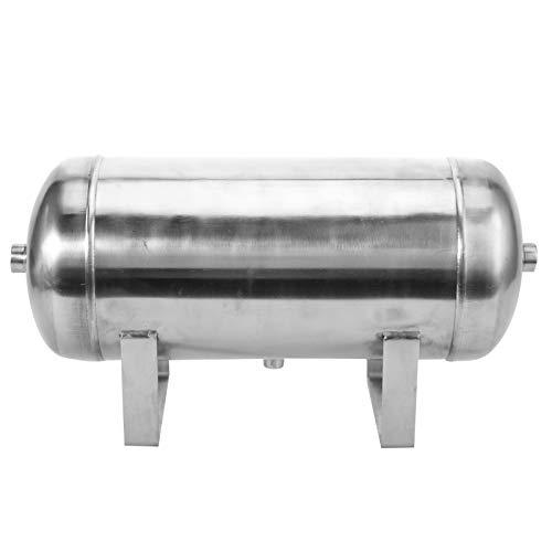 1.25MPa 10L Tanque de Reserva de Aire de Cepillado de Acero Inoxidable, 1/2 1/4NPT Tanque Horizontal de 3 Puertos de Alta Presión para Almacenamiento de Gas, Adecuado para Industria Automóvil ect.