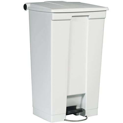 Rubbermaid Commercial Products 6146 WHI Step On Cestino a Pedale in Plastica, HDPE, Rettangolare, 87 L, Bianco