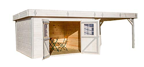 Abri en madriers massifs - Toit Plat - avec terrasse - 13,48 m²