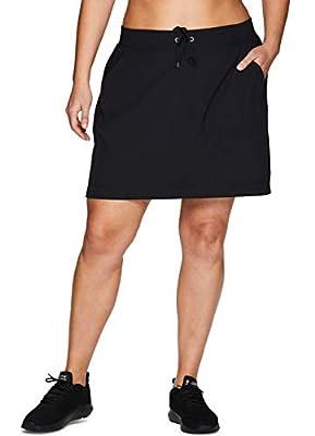 RBX Active Women's Plus Size Woven Drawstring Skort w/Inner Bike Short Black 1X