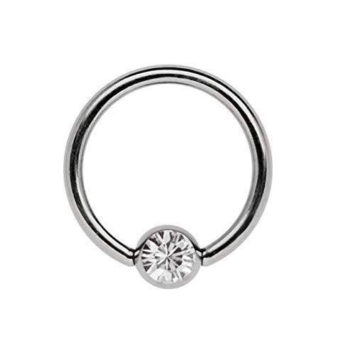 Titan Ring in 1,2 x 8 mm als Lippenbändchen Piercing mit flachem Stein in 4 mm Ø, klar