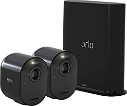 Arlo Ultra - 4K UHD Wire-Free Security 2 Camera System | Indoor/Outdoor with Color Night Vision, 180° View, 2-Way Audio, Spotlight, Siren | Compatible with Alexa and HomeKit |Black