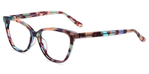 Firmoo Lesebrille 2.0 Damen Katzenaugen Blaulichtfilter Computer Lesehilfe Brille Anti Blaulicht Brille Cateyeförmige Brille mit Federschanier (Mehrfarbige Muster, 2.0)