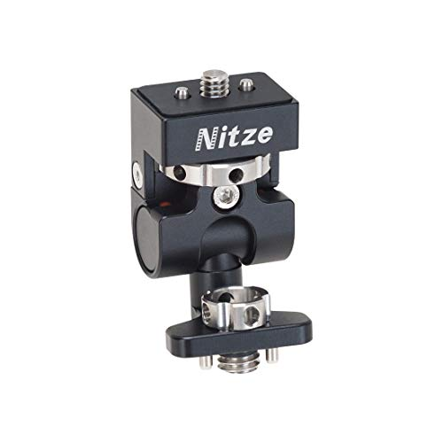 """Nitze Monitor Holder Mount ELF Series Low Profile 3/8"""" ARRI Standard Locating Pins to 1/4""""-20 Screw with Locating Pins - N54-G4"""
