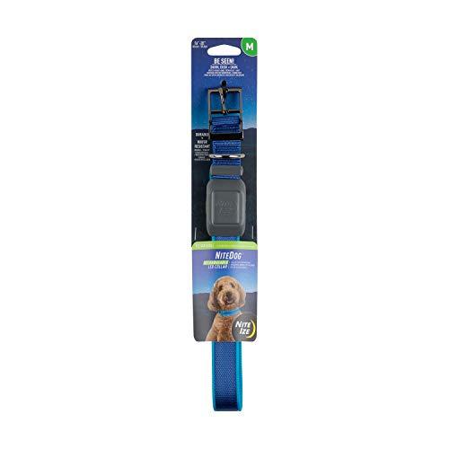 Nite Ize NiteDog Collar recargable LED con luz USB recargable con hebilla de metal, resistente al agua, azul