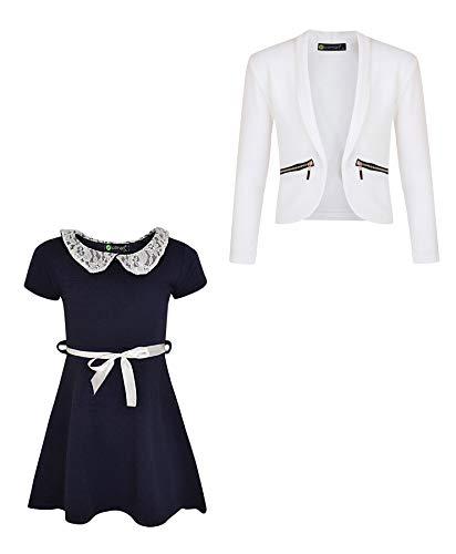 LOTMART Mädchen 2 Stück: Kleid mit Spitzenkragen und Blazer mit Reißverschlusstasche Gr. 13-14 Jahre, Navy-Weiß