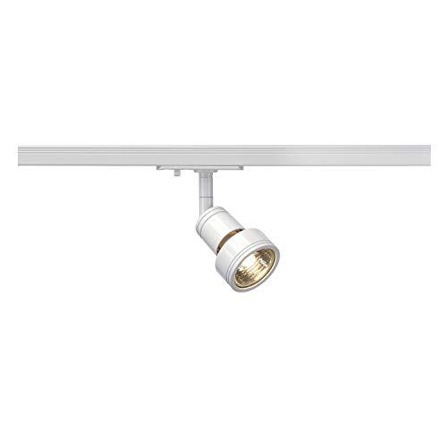 SLV LED Schienen-Strahler PURI | Dreh- und schwenkbarer 1-Phasen-Strahler, LED Spot, Deckenstrahler, Deckenleuchte, Schienensystem, Innenbeleuchtung, 1P-Lampe | GU10 QPAR51, weiß, max. EEK E-A++