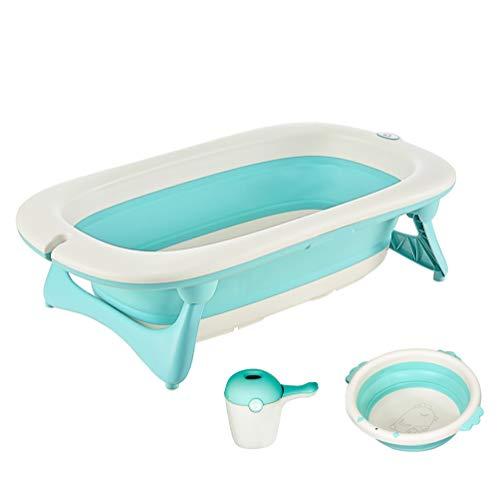 HOMCOM Babybadewanne mit Waschbecken und Shampoobecher, faltbare Babywanne, Badewanne für Baby, Kunststoff, Grün, 84,5 x 50,5 x 24 cm