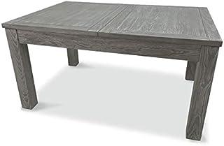 Table de Repas à allonge Bois Massif Gris - Gabriel - L 150/210 x l 100 x H 75 - Neuf