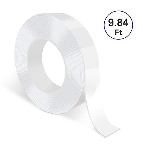 Deyard Nano cinta transparente 3M/10pies, multipropósito y reutilizables, sin marcas, lavables, de doble cara, adhesivo de silicona de alta viscosidad para la oficina y el hogar