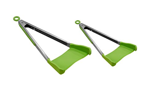 Allstar Innovations Clever Tongs 2 In 1 Kitchen Spatula Non-Stick, Heat Resistant, Stainless Steel Frame, Silicone & Dishwasher Safe, As Seen on TV, 2 Pack (Includes 1 Large & 1...