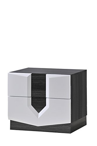 Global Furniture Hudson Nightstand, Zebra Grey and White