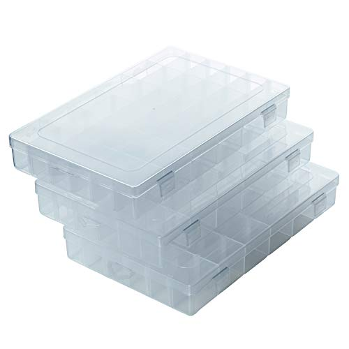 VEESHA 3 Packs 36 Grids Clear Plastic Storage Organizer Box with Removable Dividers - Fishing Tackle Storage Tackle Trays - Parts Box