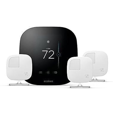 ecobee3 Smart Thermostat & 3 Room Sensors, Works with Alexa