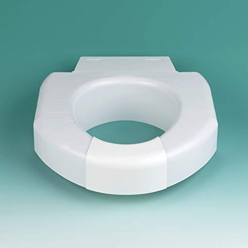 SP Ableware Secure-Bolt 3-Inch Elevated Toilet Seat with Convertible Open/Closed Front – Plastic, White (725790002)