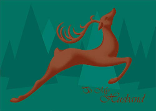 Sunrise Leaping Reindeer Christmas Card