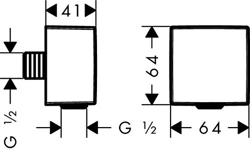 Hansgrohe Schlauchanschluss DN15 Fixfit Square mit Rückflussverhinderer mattweiss, 26455700