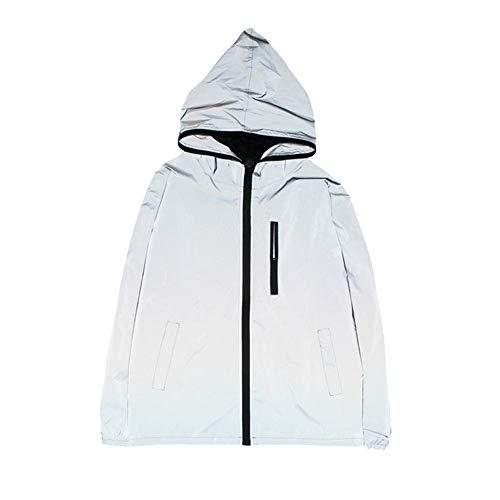 Eghunooye Herren 360 Reflective Wasserdicht Sport Jacke mit Reißverschluss Outdoor für Damen und Männer (L)