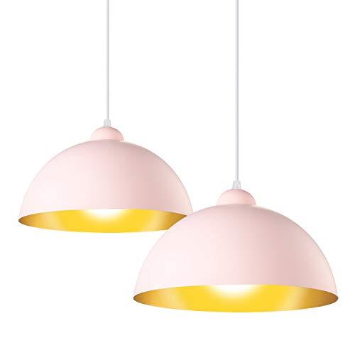LSX Licht 2X Pendelleuchte Retro Vintage Hängelleuchte Metall Ø 30cm exkl. E27 max. 150W Leuchtmittel Pink Matt, Metallschirm Pink/Goldfarbig [Energieklasse A++]