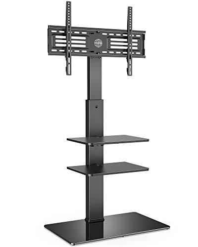 FITUEYES Floor TV Stand 3 Shelves for 32' - 65' with 60° Swivel Bracket 6 Adjustable Heights Cable Management Holds 40kgs/88lbs Max. VESA 600x400mm Black TT307001MB