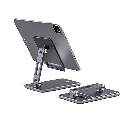 LAHappy Soporte para Tablet Plegable, Soporte para Teléfono Móvil, con Base Antideslizante para iPad, iPhone,Samsung, Kindle 4-12.9',Gris