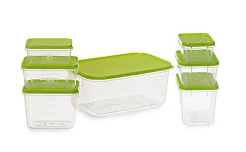 All Time Plastics Polka Container Set, 7-Pieces, Green