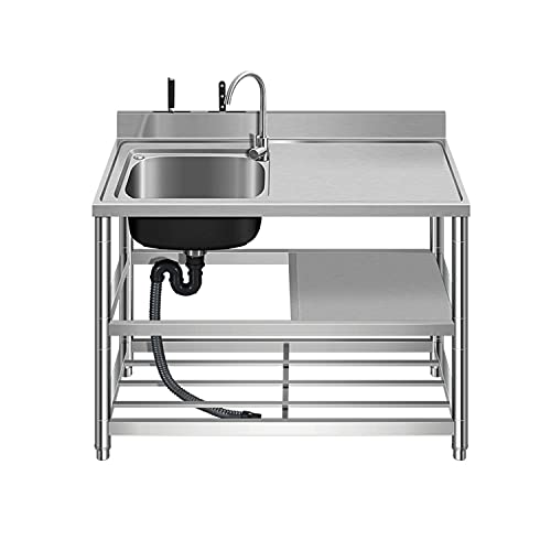 Kitchen Sink Set with Faucet & Drainboard, Free Standing Stainless-Steel Single Bowl Indoor Outdoor Sink with Double Storage Shelves