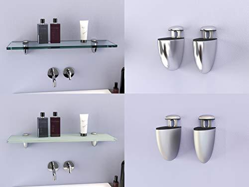 DURAFURN® Glasablage 300 mm x 150 mm x 8 mm als Variante klares Glas mit Edelstahlhalter Glasregal Spiegelablage Badablage Wandhalter Wandregal Duschablage