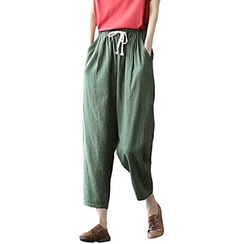STOREYH Pantaloni da donna in cotone e lino, elegante colore pieno, 7/8, lunghi pantaloni a tunica con coulisse, casual, leggings estivi, primavera, autunno, sport, verde, L