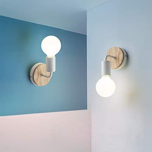 XIHOME 2 Decorazioni in legno bianco Lampada da parete LED su/giù Lampada decorativa per interni,Applique da comodino in stile country vintage rustico Lampade retrò edison calde Lampadina E27 Max 60W