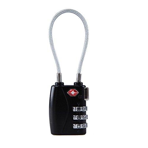 MECCION TSAロック 3桁 南京錠 ダイヤル式ロック 海外旅行用 荷物スーツケース用 ワイヤータイプ(ブラック)