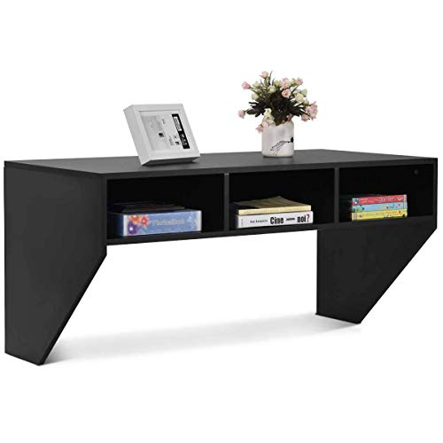 Wall Mounted Desk WATERJOY Computer Desk Floating Table,Home Office Working Desk,Wall Mounted Console Workstation Laptop PC Table with Storage Shelves Black
