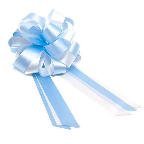 Oblique-Unique® Geschenk Schleife Groß mit Geschenkband Deko Band für Geschenke und Zuckertüten - wählbar (Hellblau Weiß)