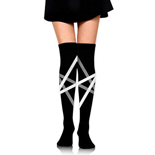 Nice-Guy Unicursal Hexagram Girls Elegante Oberschenkel Hohe Socken über dem Knie Hohe Strümpfe