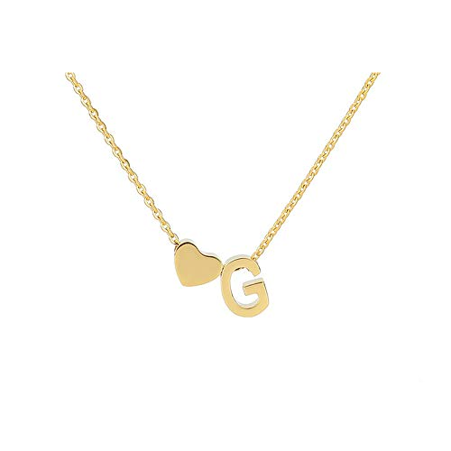 Tiny Gold Silver Love Heart Initial Necklace Personalized Dainty Letter Necklace Name Jewelry for Women Birthday Gift(gold G)