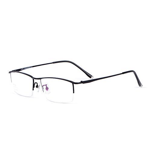 CAOXN Gafas De Lectura Anti-Luz Azul Y Anti-Fatiga para Hombres, Lupa con Marco De Titanio Puro Ultraligero +1.0 A +3.0 Dioptrías,Negro,+2.50