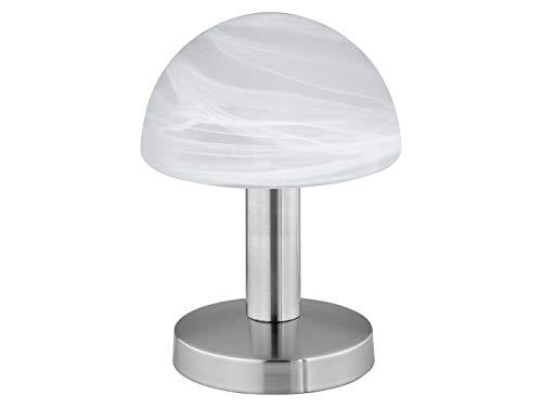 Tischleuchte Touch ME mit Leuchtmittel & Glaslampenschirm in Alabaster Optik, Touch-Dimmer