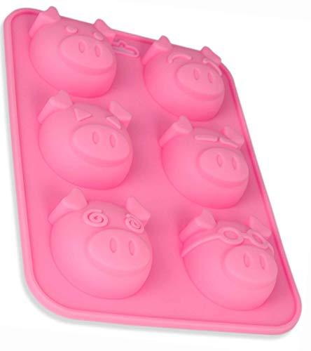 BlueFox Silikonform Schweinchen, Muffinform Schweine, Silikonform Muffins, Cupcake, Form für Backblech, 23 x 17 x 3cm, Glücksbringer, Farbe: Rosa