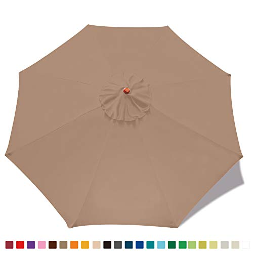 MASTERCANOPY 9ft Patio Umbrella Replacement Canopy Market Table Umbrella Canopy with 8 Ribs(9ft,Khaki)