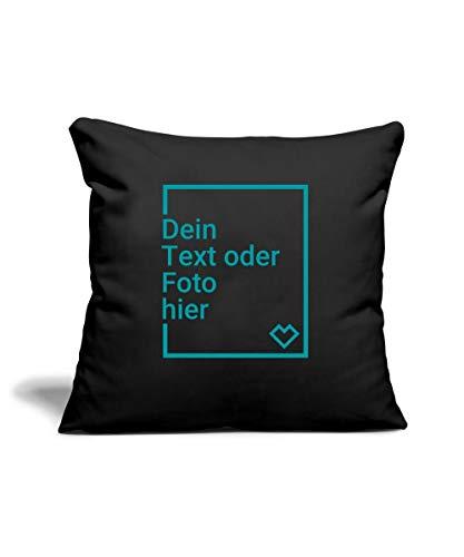 Spreadshirt Personalisierbares Kissen Selbst Gestalten mit Foto und Text Wunschmotiv Sofakissenbezug 44 x 44 cm, Schwarz