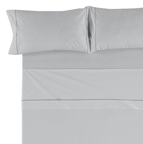 Es-Tela - Juego de sábanas liso con biés, color perla, cama de 200 cm., algodón-poliéster, 4 piezas