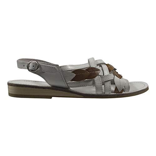 Andrea Doria Damenschuhe Sandale; Farbe: Weiß-Braun; Größe: 40 EU; Obermaterial: Leder; Innenmaterial: Leder; Laufsohle: Sonstiges Material