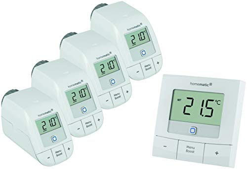 Homematic IP Set Heizen Basic L, 4X Heizkörperthermostat HmIP-eTRV-B & 1x Wandthermostat HmIP-WTH-B