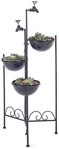 Vase Jardin des Plantes succulentes Fer Jardin extérieur Art créatif intérieur 3 Support Couche végétale Simple Gold Luxury Outdoor 92 * 40cm Décoratif (Color : Black)