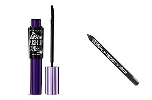 Kit Gemey Maybelline Push Up Angel Mascara, 9.5 ml - Very Black/Noir + Crayon Yeux Waterproof inclus (brun)